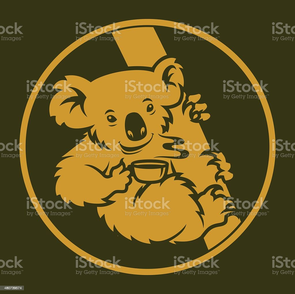 Koala with cup of tea vector art illustration