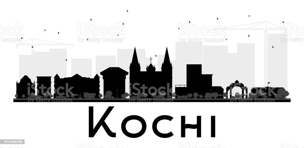 Kochi City skyline black and white silhouette. vector art illustration