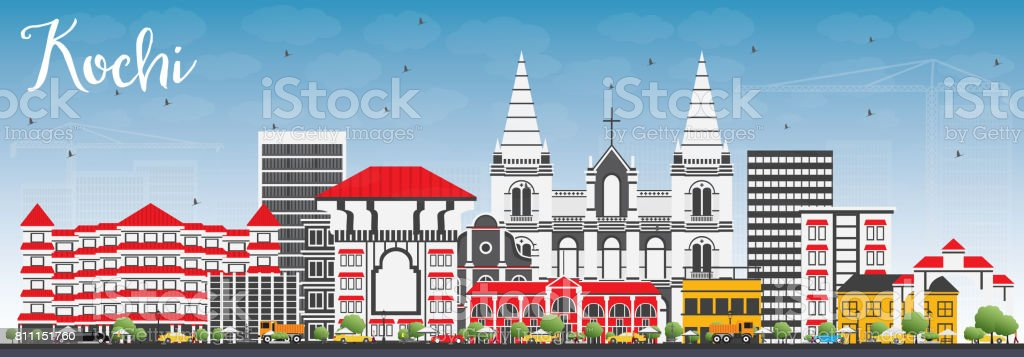 Kochi Skyline with Color Buildings and Blue Sky. vector art illustration