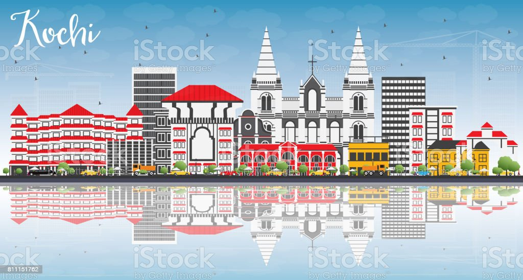 Kochi Skyline with Color Buildings, Blue Sky and Reflections. vector art illustration