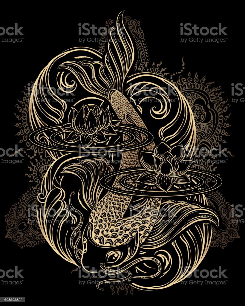 koi carp tatoo vector art illustration