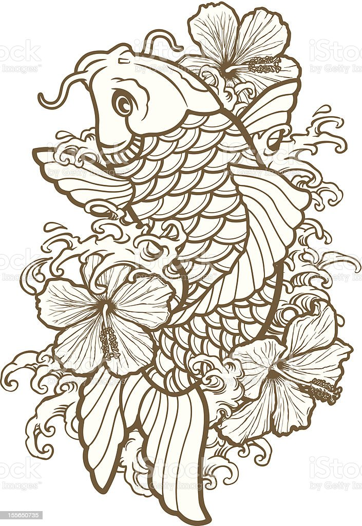 Koi Fish and Hibiscus Line vector art illustration