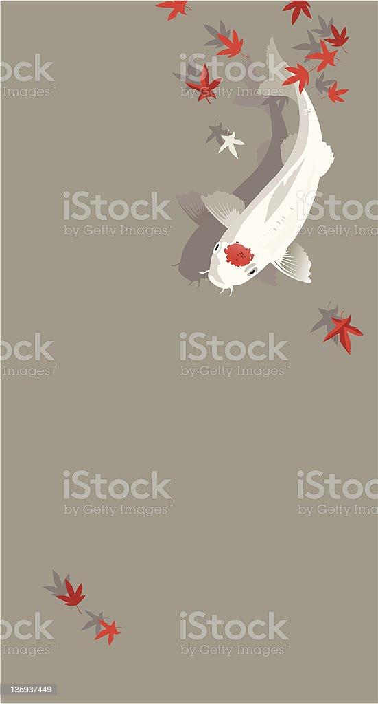 Koi fish in autumn pond vector art illustration