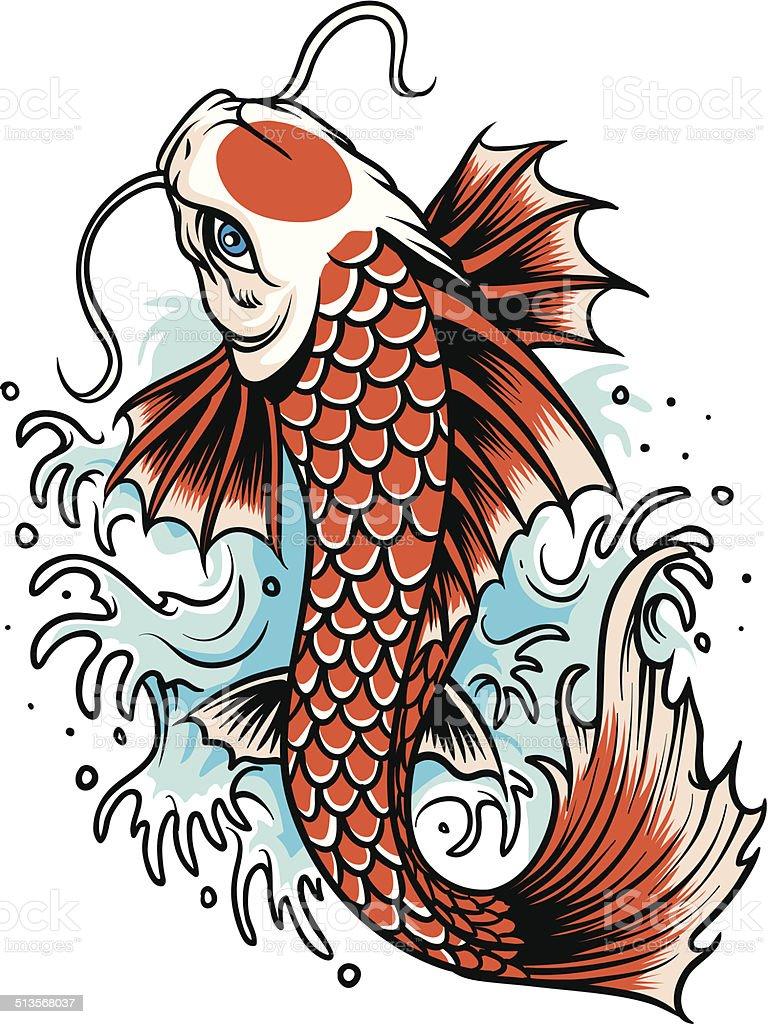 koi fish tattoo vector art illustration