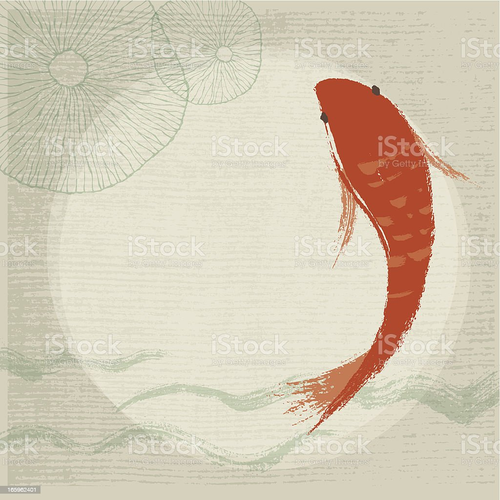Koi Fish & Waterlily Background vector art illustration