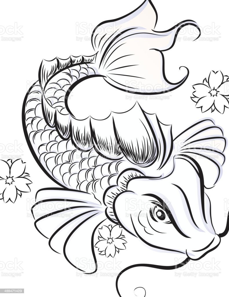 koifish sketch stock vector art 455471423 istock