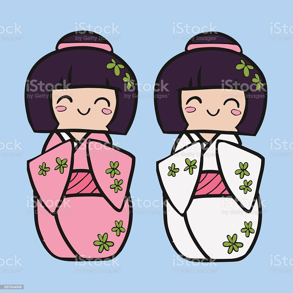 Kokeshi cartoon doll in kimono. Japanese traditional toy. vector art illustration