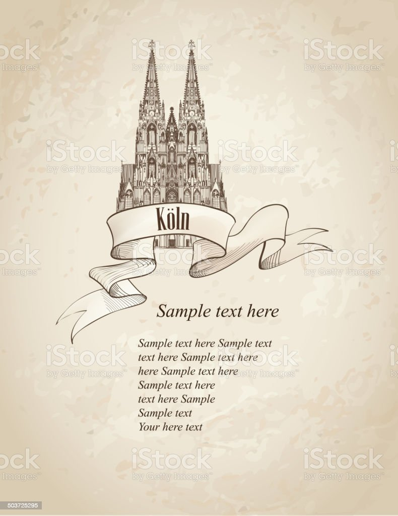 Koln Dom Cathedral. Travel Germany retro background. vector art illustration