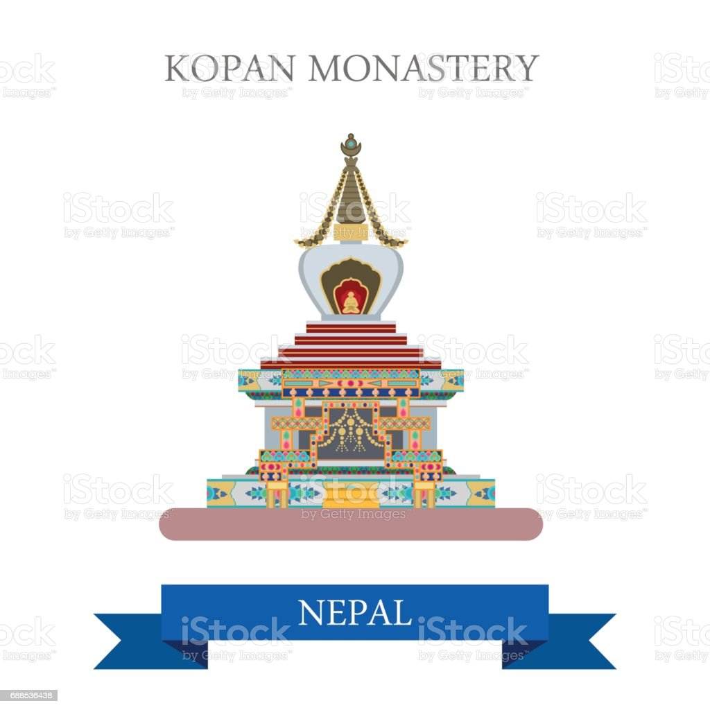 Kopan Monastery in Kathmandu Nepal. Flat cartoon style historic sight showplace attraction web site vector illustration. World countries cities vacation travel sightseeing Asia collection. vector art illustration