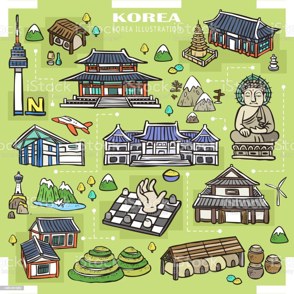Korea attractions collection vector art illustration