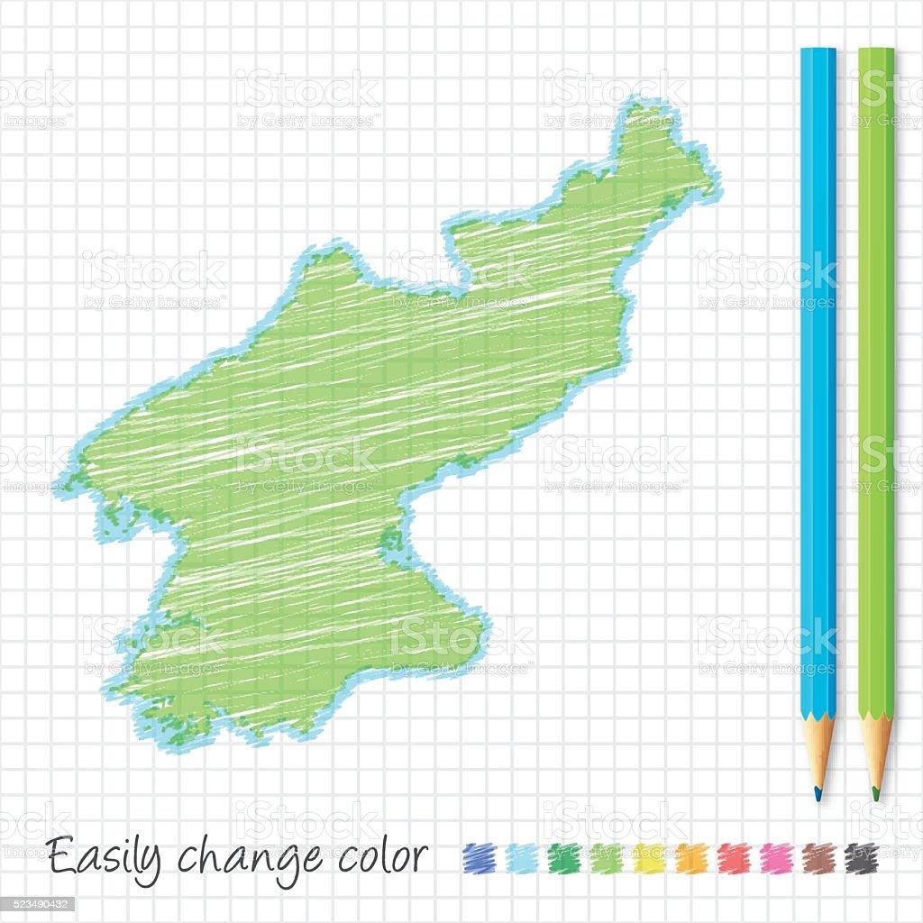 Korea North map sketch with color pencils, on grid paper vector art illustration