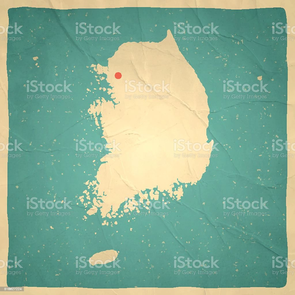 Korea South Map on old paper - vintage texture vector art illustration