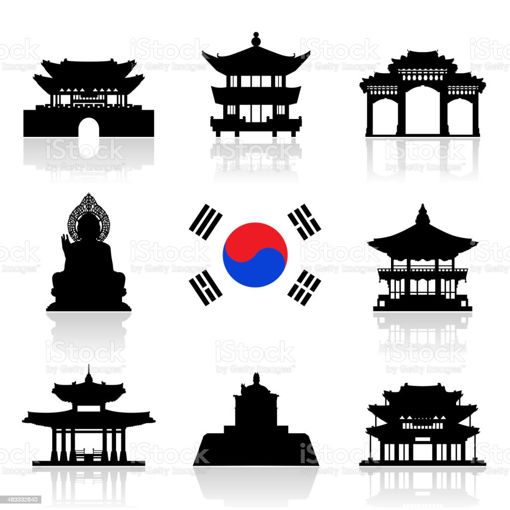 Korea Travel Icon Set. vector art illustration