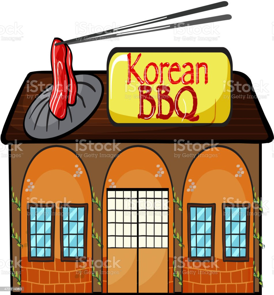 Korean bbq shop royalty-free stock vector art