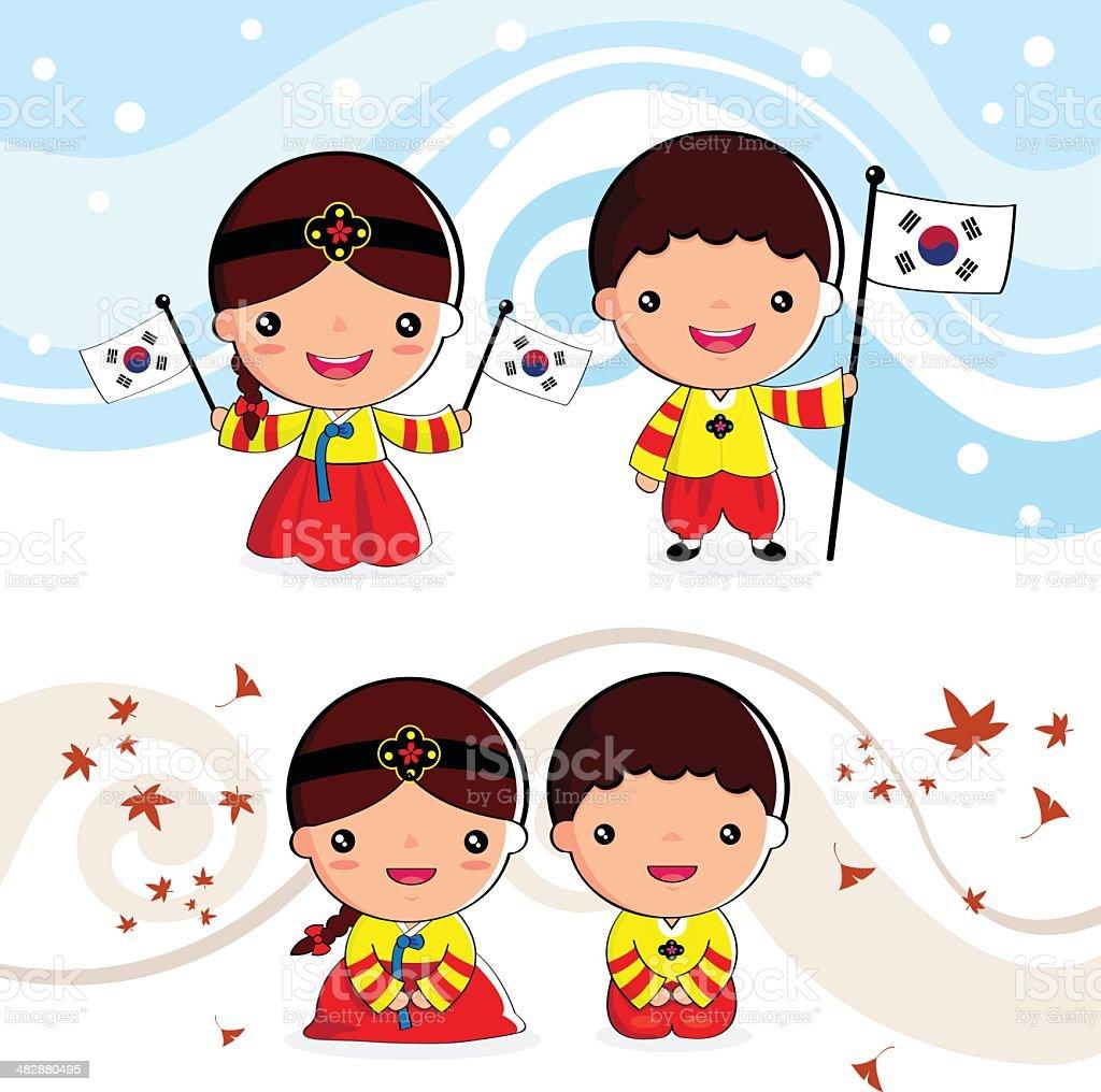 Korean traditional costume royalty-free stock vector art