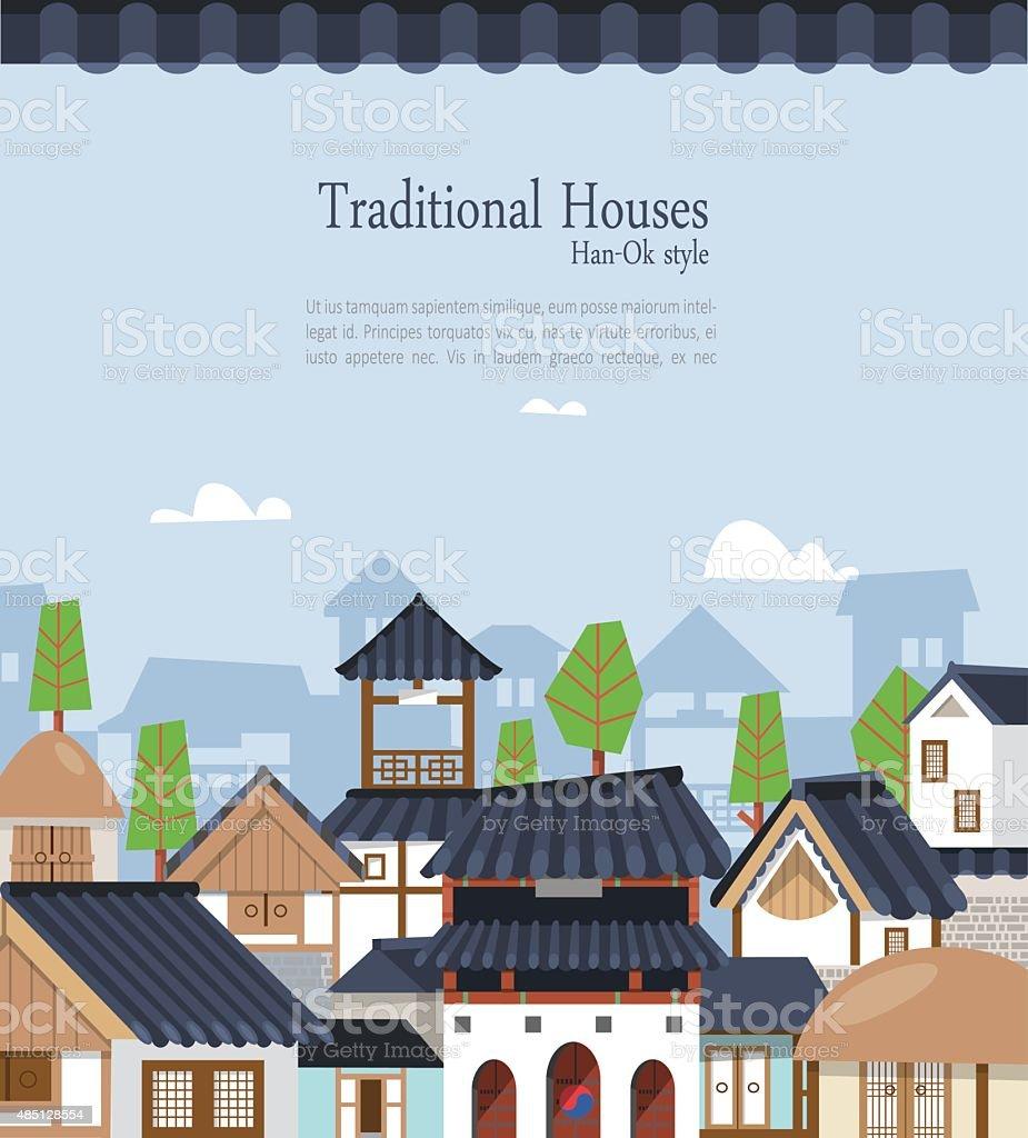Korean traditional town F01 vector art illustration