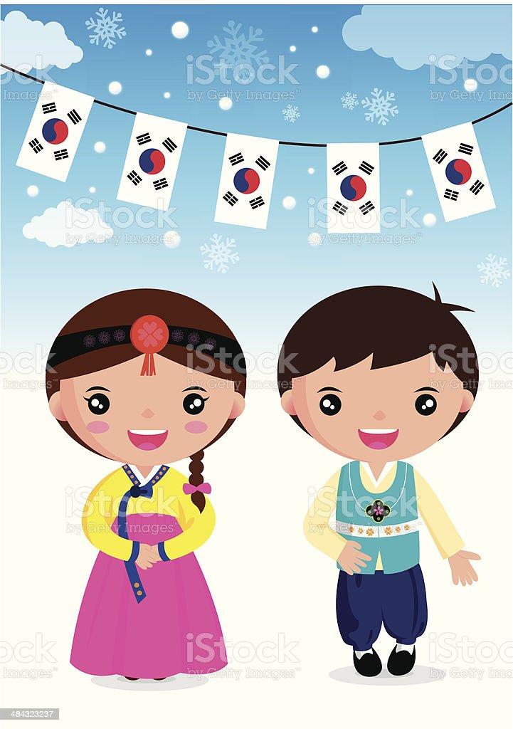 Korean traditional vector art illustration
