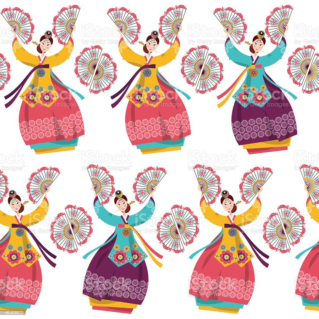 Korean women performing a traditional fan dance. Seamless background pattern. vector art illustration