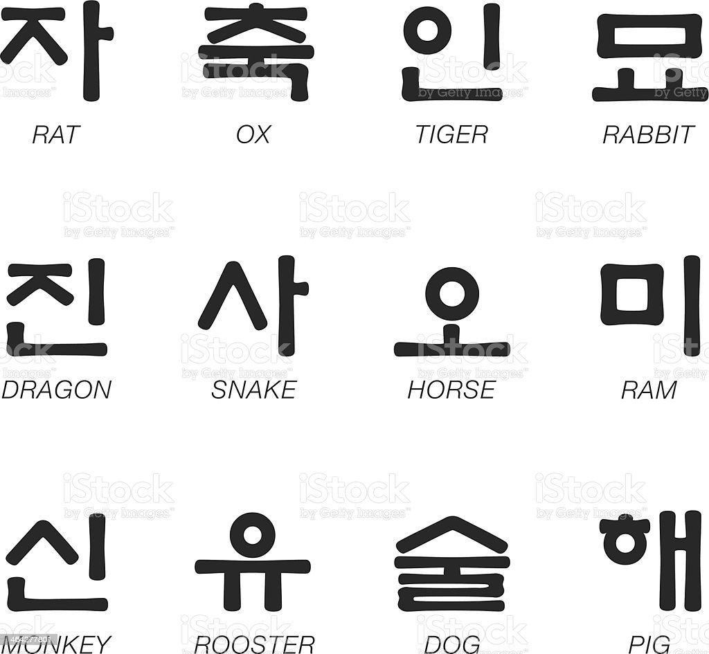 Korean Zodiac Characters Silhouette Icons vector art illustration