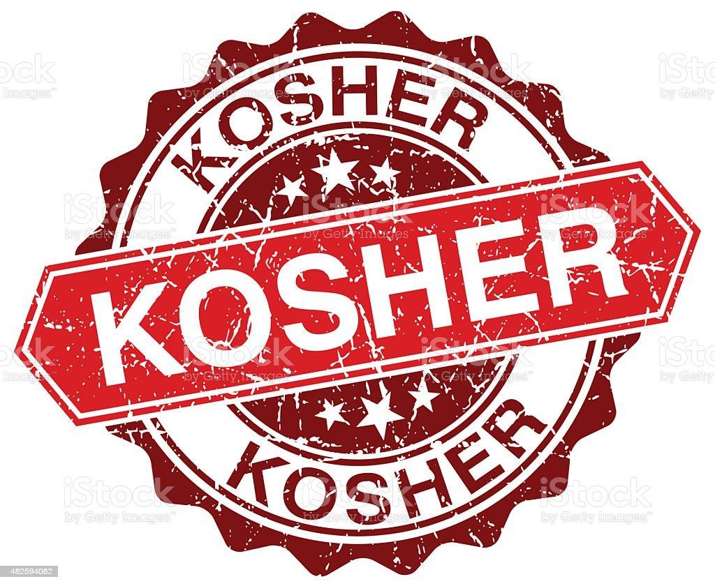 kosher red round grunge stamp on white vector art illustration