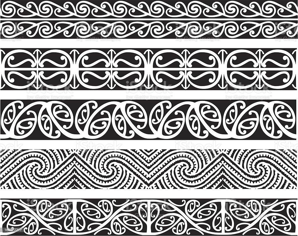 Kowhaiwhai Designs vector art illustration