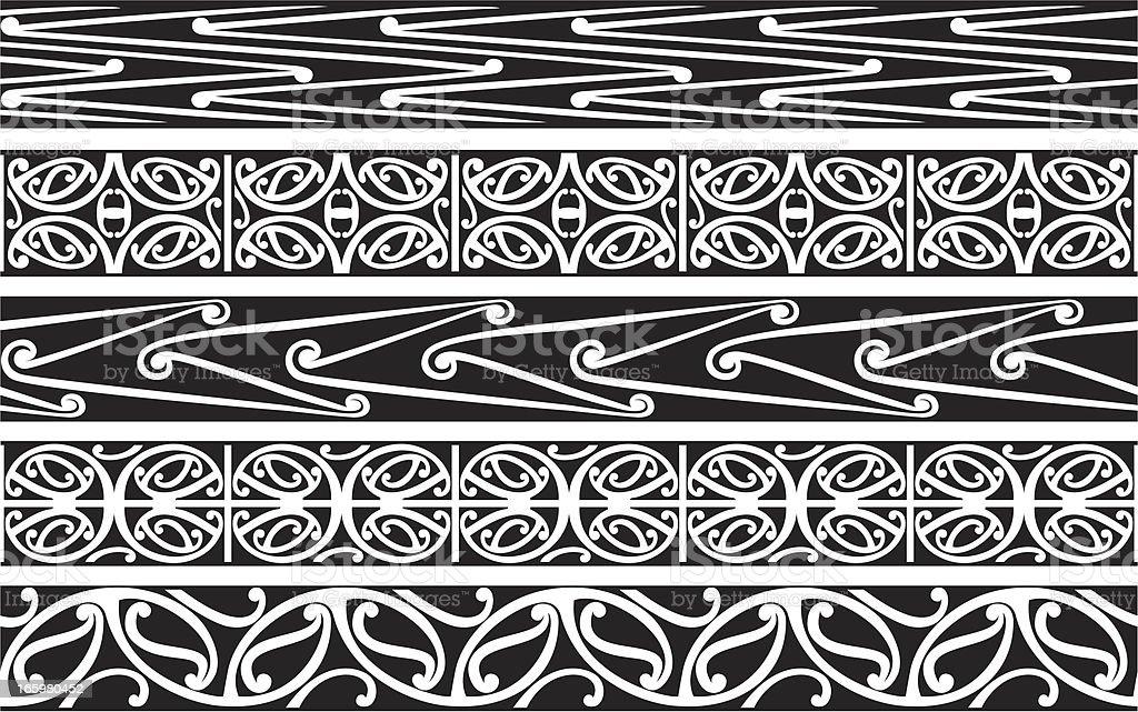 Kowhaiwhai - Koru Patterns royalty-free stock vector art