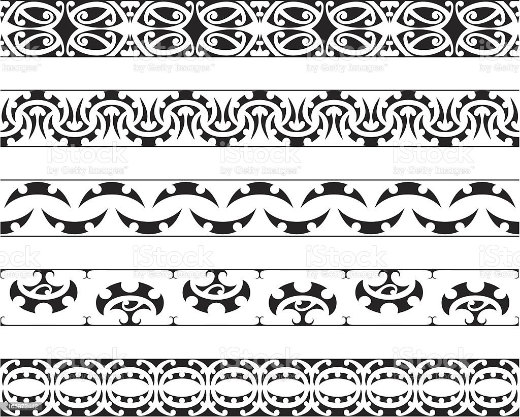 Kowhaiwhai Patterns royalty-free stock vector art