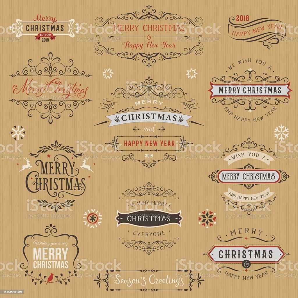 Kraft Christmas Typographic Collection vector art illustration