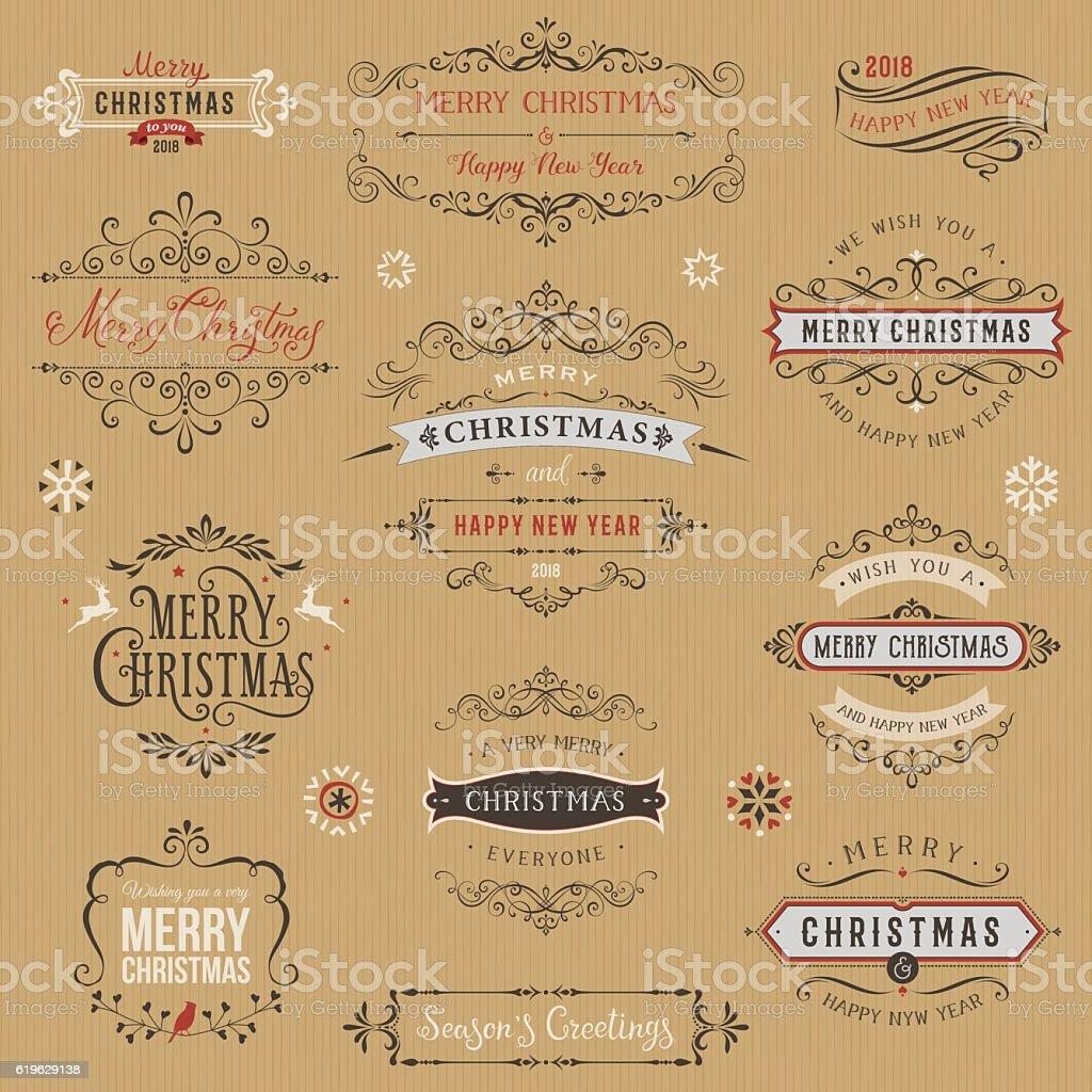 Kraft Christmas Typographic Collection vector art illustration