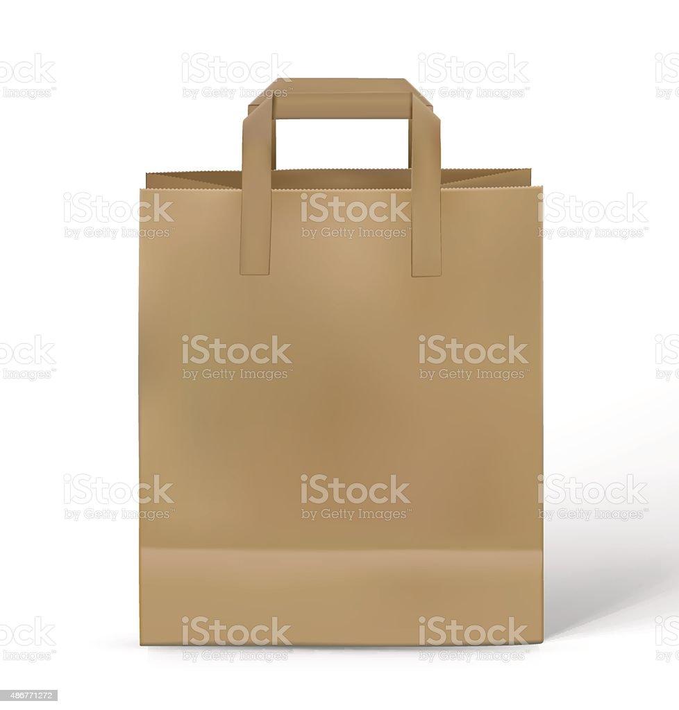 Kraft paper bag isolated on white background. Vector illustration vector art illustration