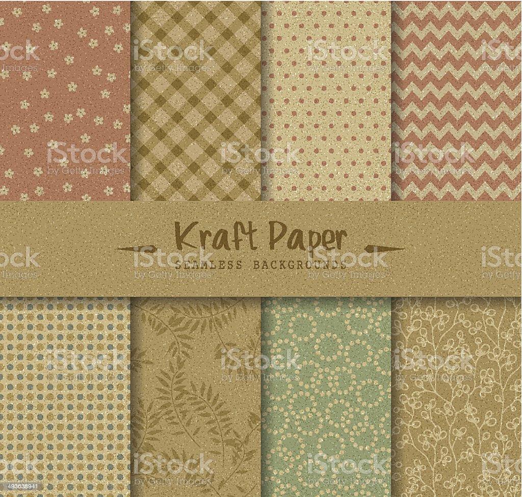 Kraft Paper Seamless Backgrounds vector art illustration