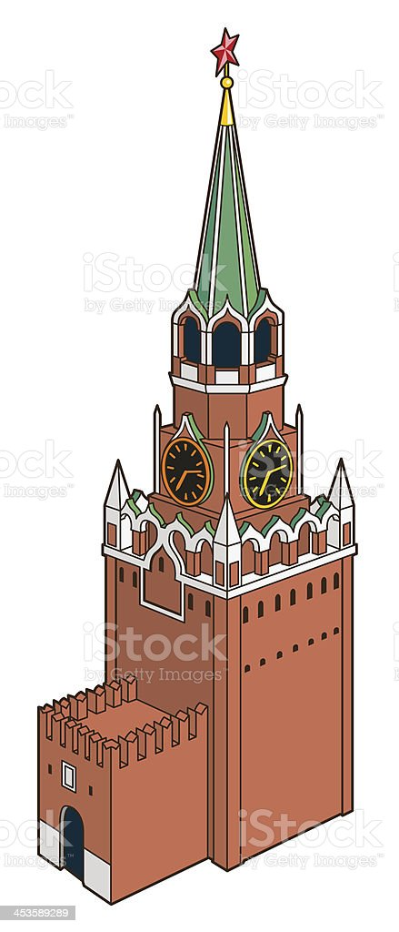 Kremlin tower with clock in moscow royalty-free stock vector art