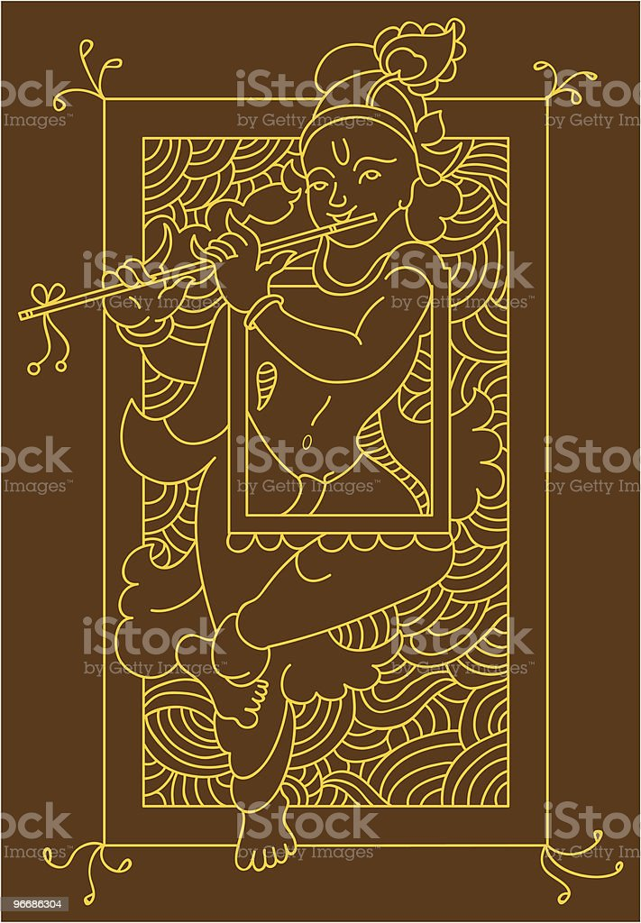 Krishna Folk tribal design motif royalty-free stock vector art