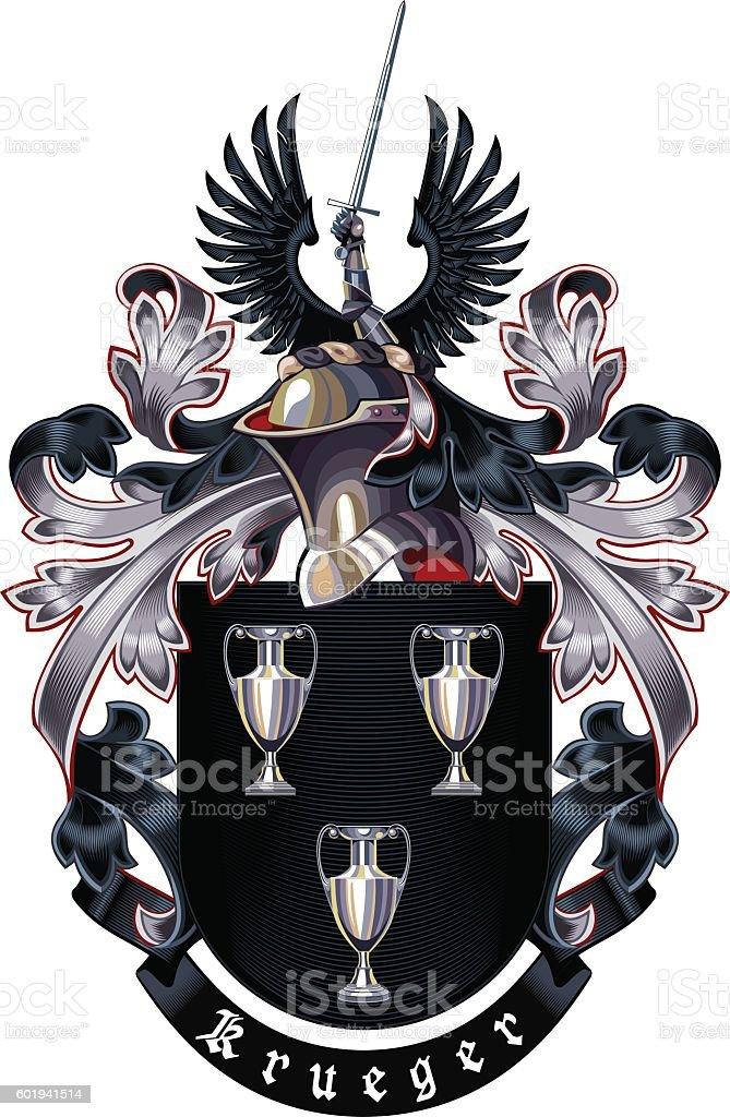 Krueger Coat of Arms vector art illustration