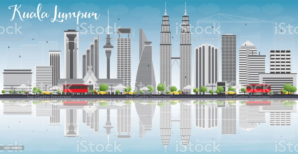 Kuala Lumpur Skyline with Gray Buildings and Reflections vector art illustration