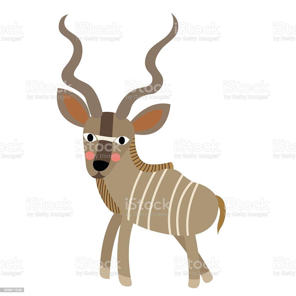 Kudu animal cartoon character vector illustration. vector art illustration