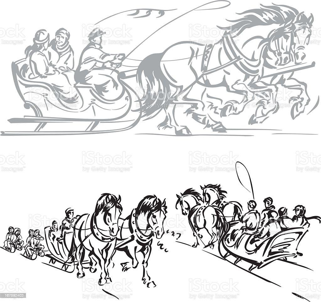 Kulig - horse-drawn sleigh ride1 vector art illustration