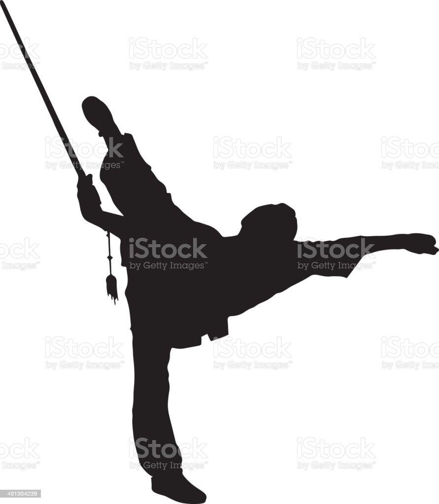 Kung Fu Silhouette vector art illustration