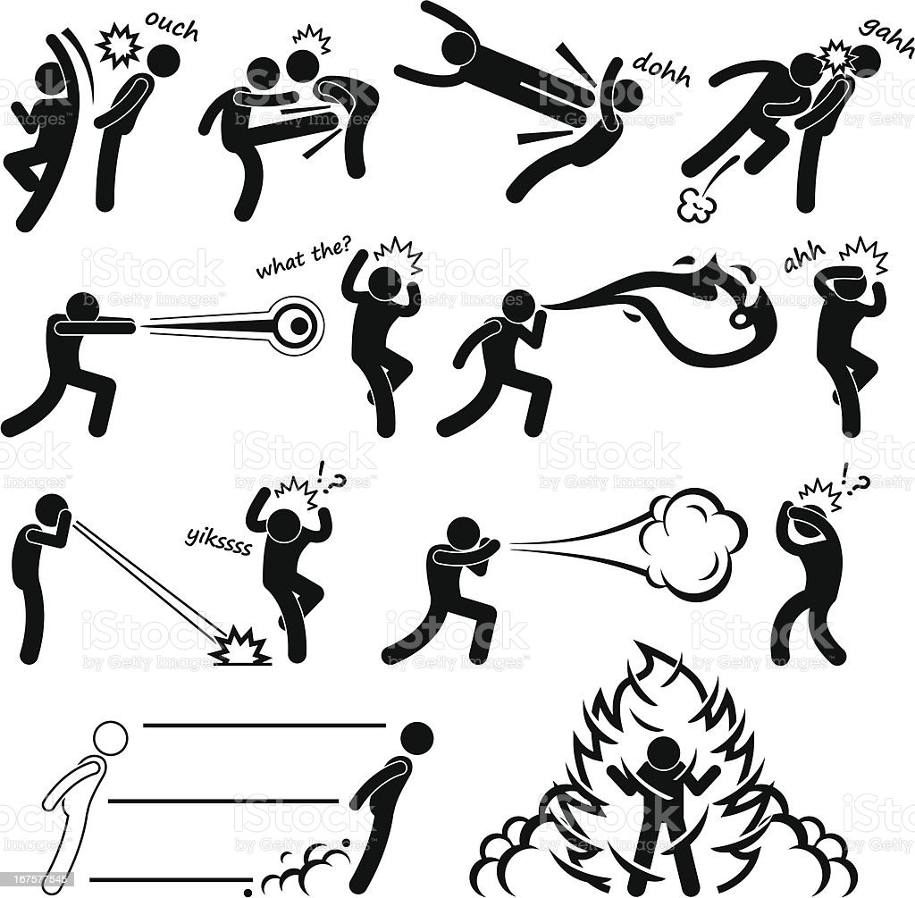 Kungfu Fighter Super Power People Pictogram royalty-free stock vector art