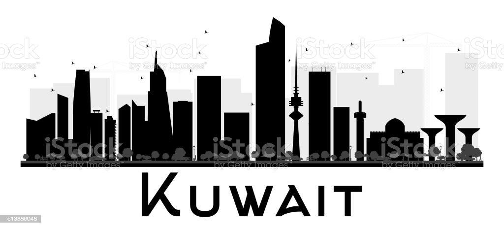 Kuwait City skyline black and white silhouette. vector art illustration