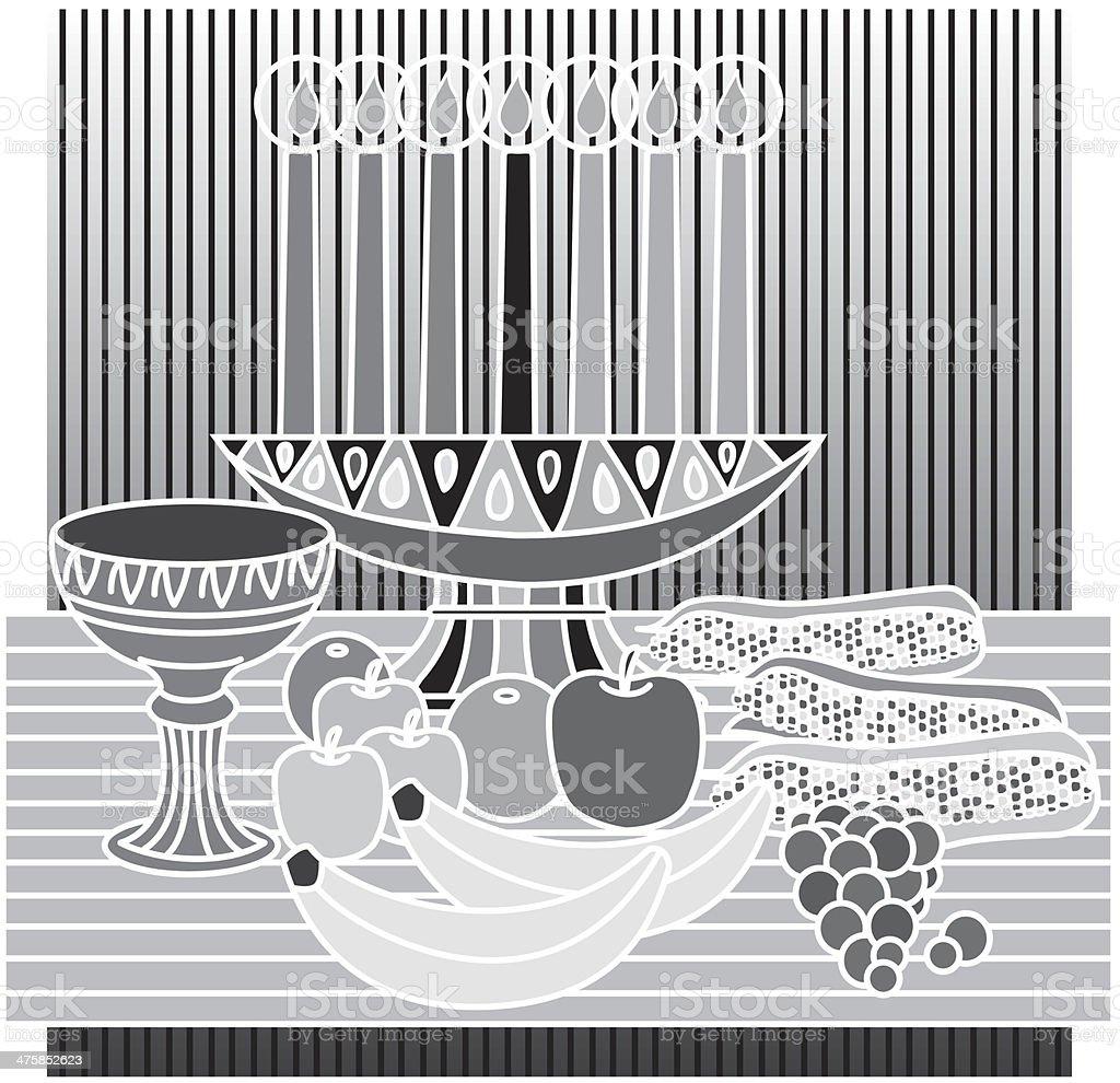 Kwanzaa Candles Fruit vector art illustration