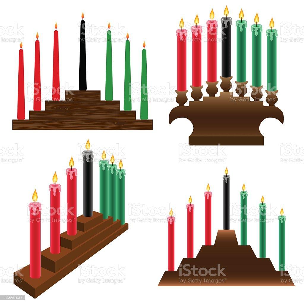 kwanzaa candlestick vector art illustration