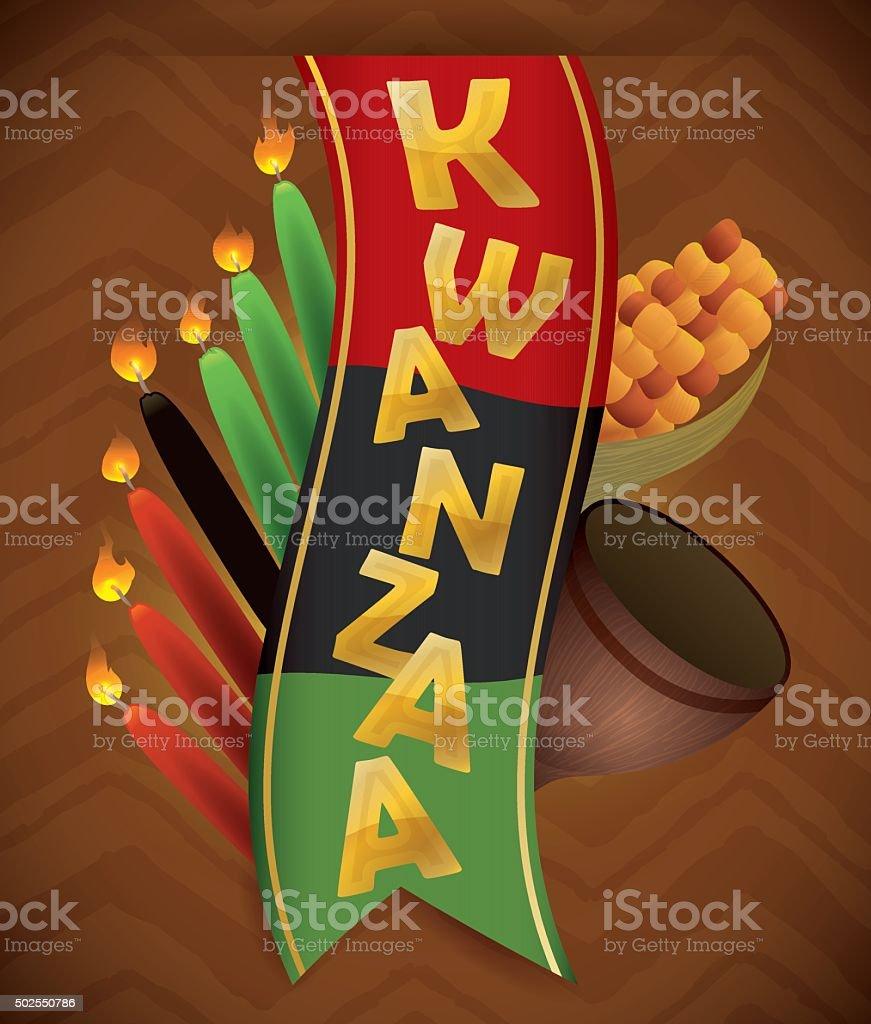 Kwanzaa Elements around Traditional Flag vector art illustration