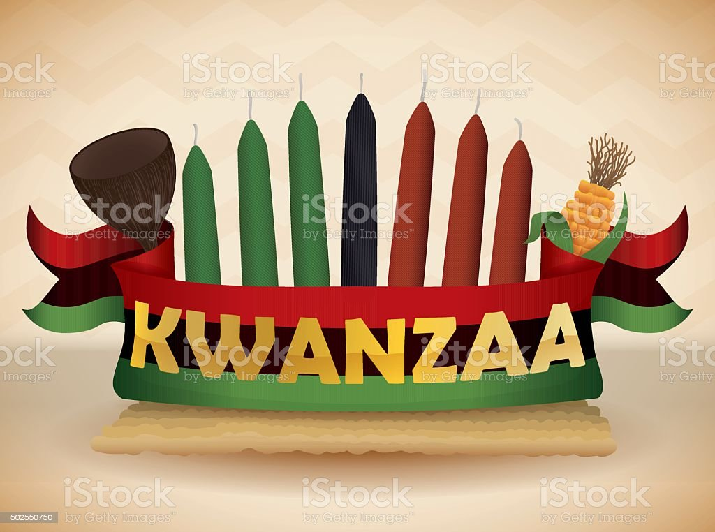Kwanzaa Elements with Traditional Flag vector art illustration
