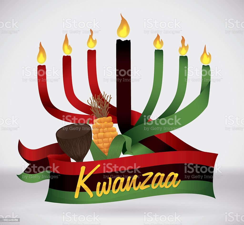 Kwanzaa Flag with Traditional Elements. vector art illustration