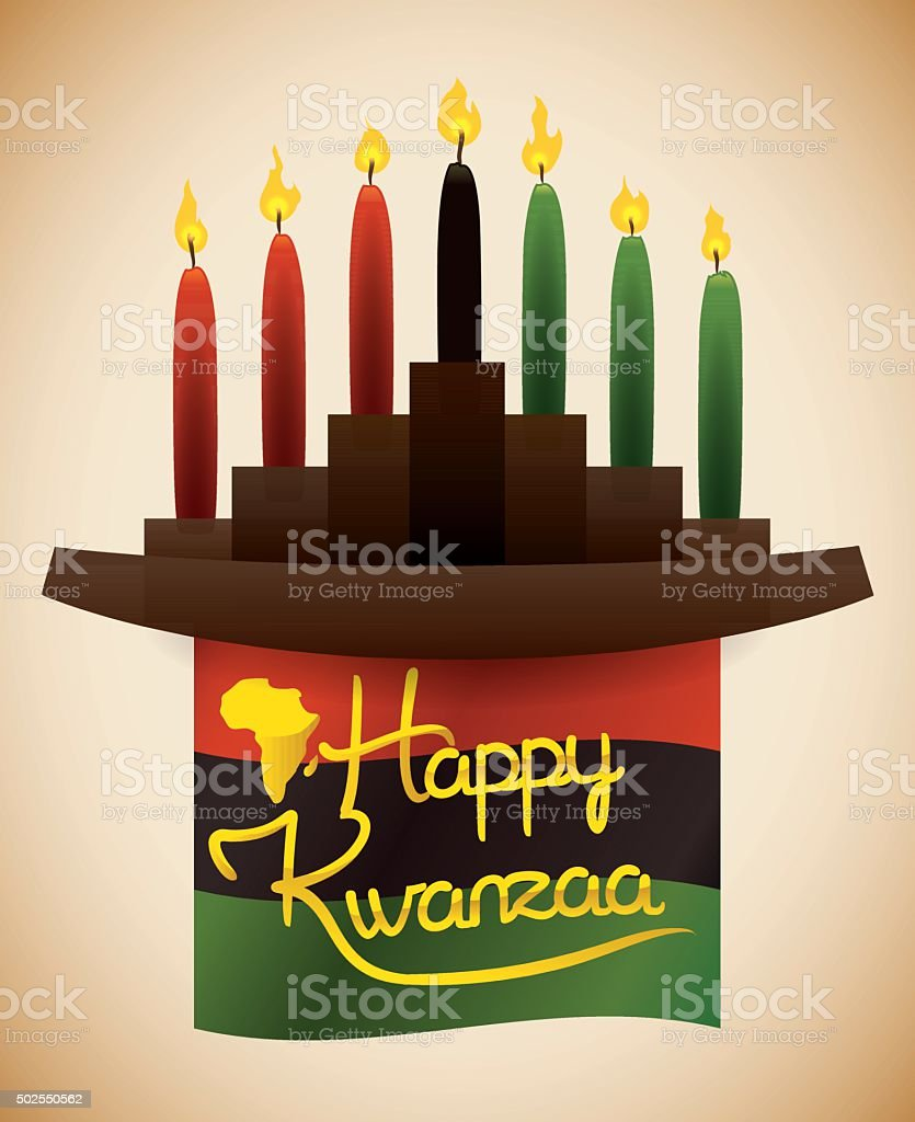 Kwanzaa Flag with Traditional Kinara and Candles vector art illustration