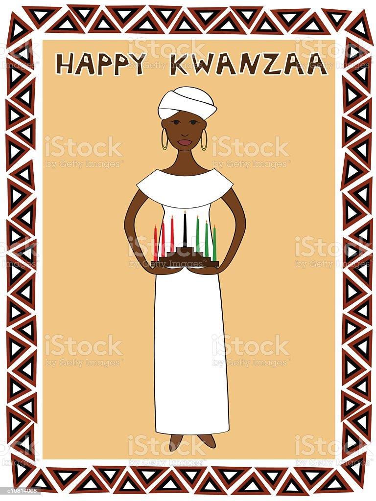 kwanzaa girl vector art illustration