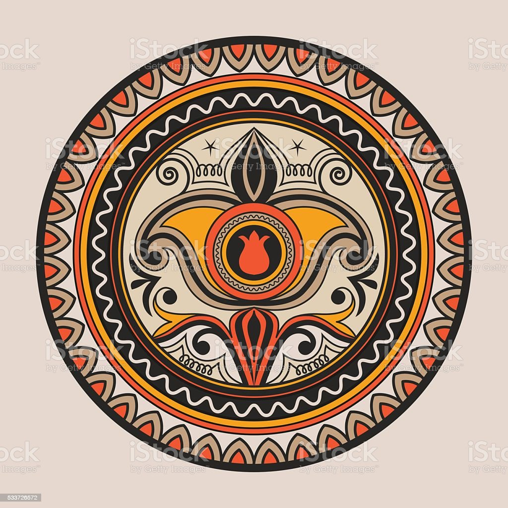 Kyrgyz national ornament with plate vector art illustration