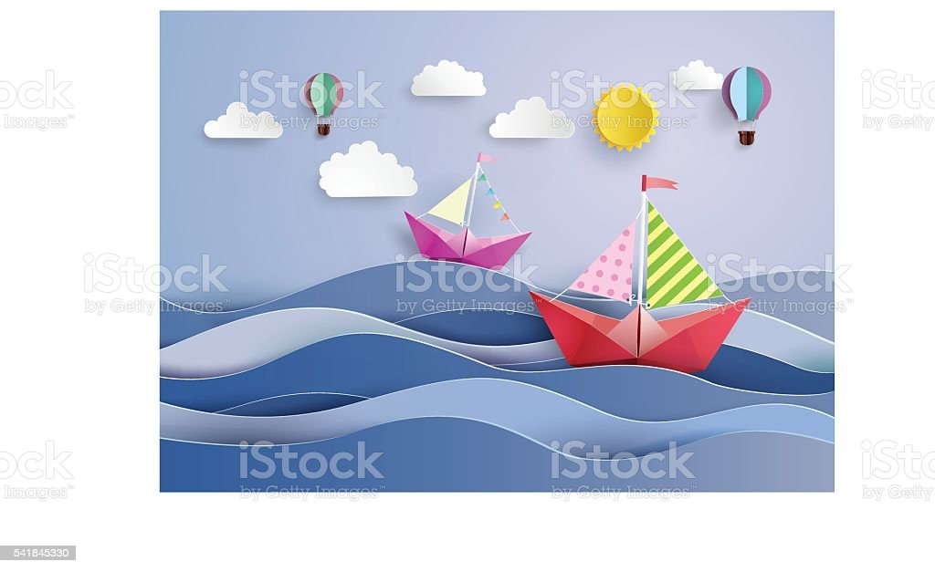 l paper sailing boat and balloon vector art illustration