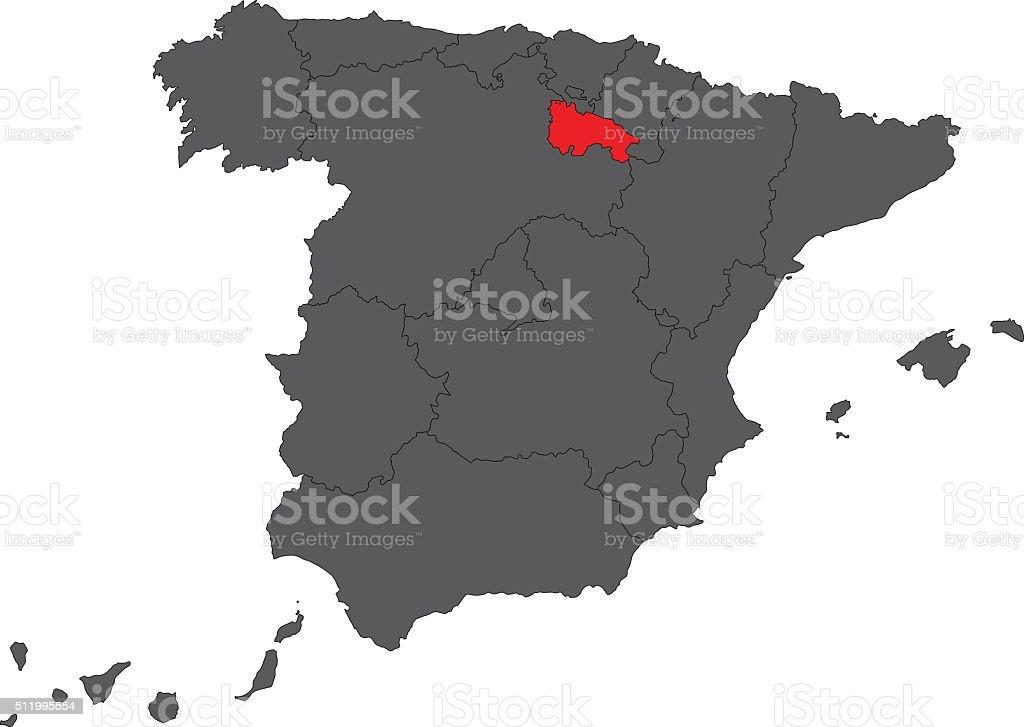 La Rioja red map on gray Spain map vector vector art illustration